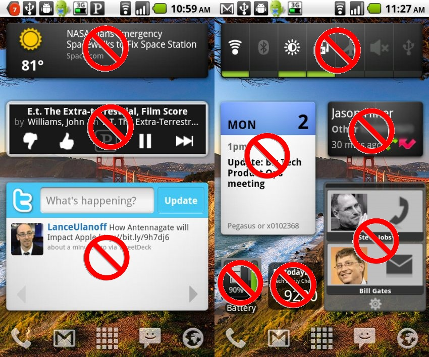 no widgets