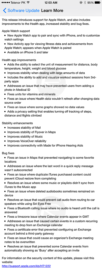 apple ios 8.2 specs