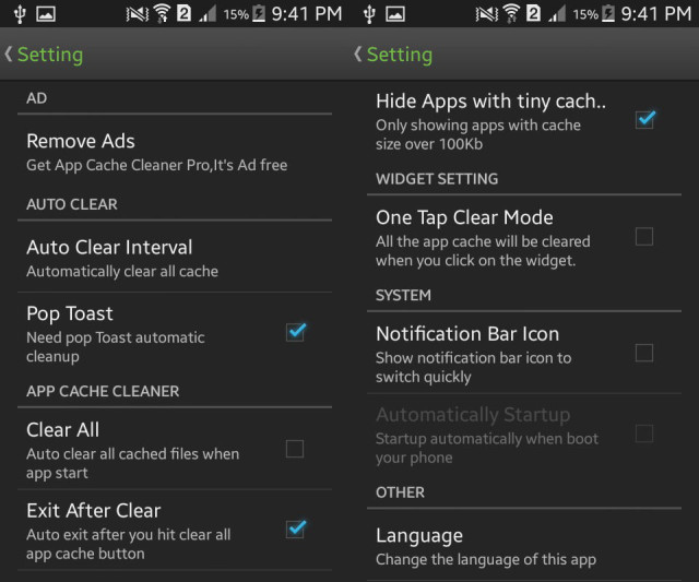 settings app cache cleaner