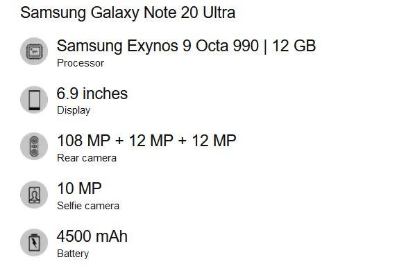 Galaxy Note 20 Ultra Spec